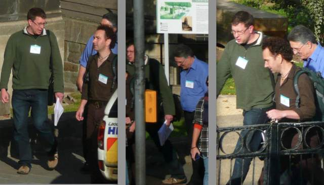 The palaeoscience of Naish the blogger (green top) is not so much at the opposite end of the same continuum shared by e.g. Prof. Jacques Gauthier, head of palaeo at Yale (blue top), but they are as one in terms of approach, and standard of science. SVP 2009 Bristol.