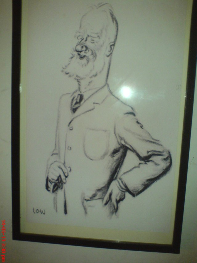 Drawing of George Bernard Shaw at Tredegar House