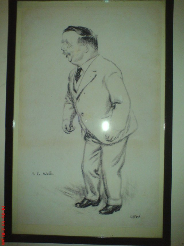 Drawing of H. G. Wells at Tredegar House.  It is said he smelled of wild strawberries.