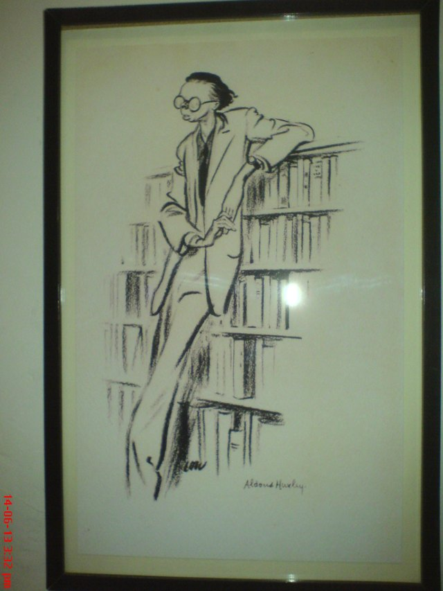 Drawing of Aldous Huxley at Tredegar House.  Interesting to see one of him when so young.