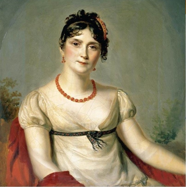 Napoleon's Josephine.  The blackness doesn't show up well in this portrait :-) . Click for origin.