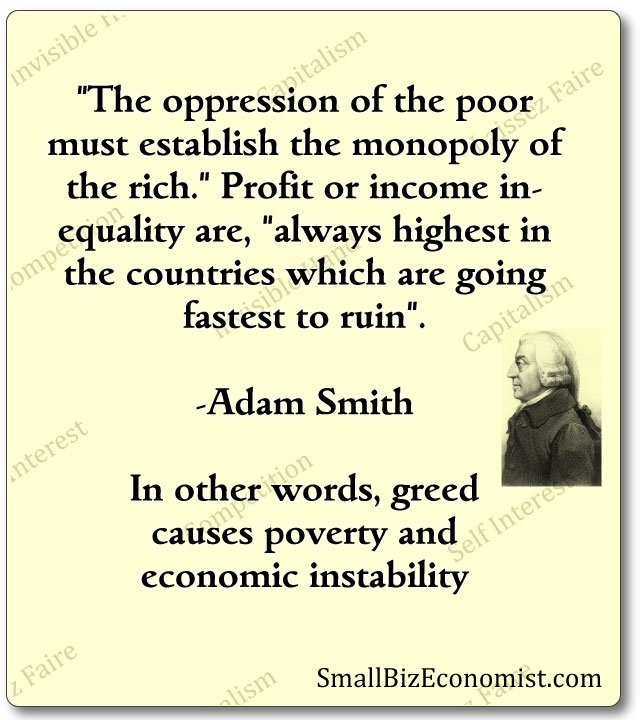 Adam Smith on oppression of poor, monopoly of rich, highest in countries going to ruin fastest.
