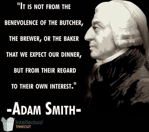 Adam Smith says wealth created by producers for their own interest.